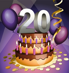 Twentieth birthday vector