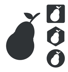 Pear icon set monochrome vector