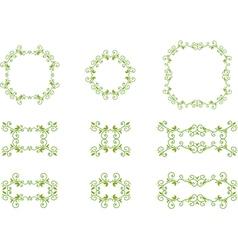 Green floral frames vector