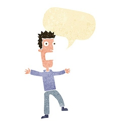 Cartoon terrified man with speech bubble vector