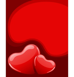 two red shiny hearts vector image