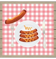 Sausages on a plate vector