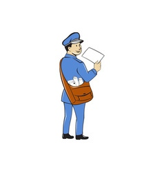 Mailman deliver letter isolated cartoon vector