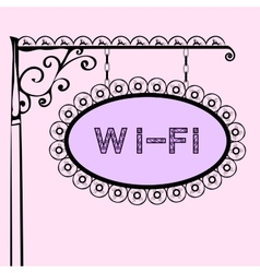Wi fi text on vintage street sign vector