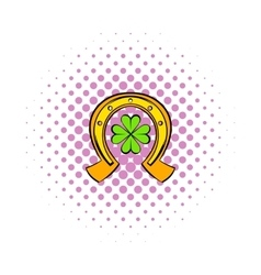 Horseshoe and four leaf clover icon comics style vector image
