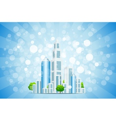 Blue background with business city and rays vector