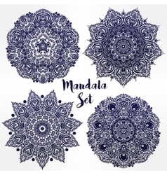 Set of abstract round mandalas in vector