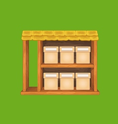 Game wooden store window vector