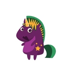 Purple unicorn with green crest vector