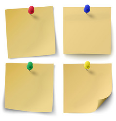Set of yellow sticky notes with push-pins vector