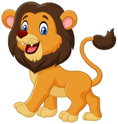 Adorable cartoon lion walking isolated vector