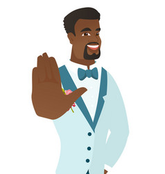 african-american groom showing palm hand vector image vector image