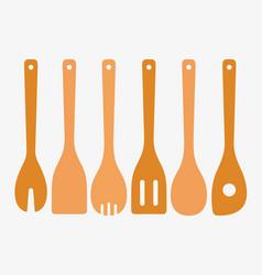 Bamboo cooking utensils vector