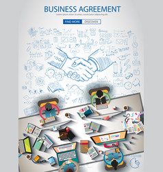 Business agreement brochure template with hand vector