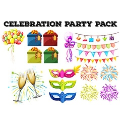 Celebration party pack with gifts and firework vector image vector image