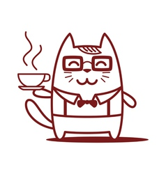 Character teacher in a business suit with coffee vector