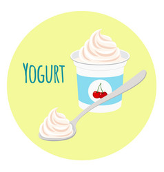 cherry yogurt healthy milk product in plastic vector image vector image
