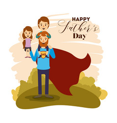 Colorful card with dad super hero and sons on the vector