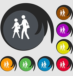 Crosswalk icon sign symbol on eight colored vector