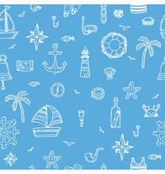 Cute hand drawn seamless pattern with nautical vector