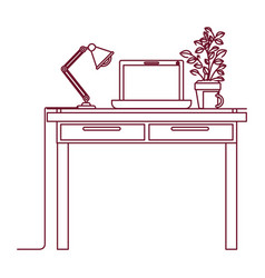 dark red line contour of work place office vector image vector image