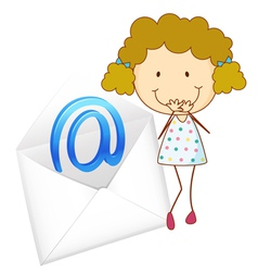 Girl with mail envelope vector image