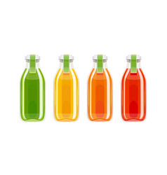 glass juice bottles vector image vector image