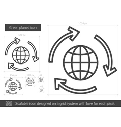 Green planet line icon vector