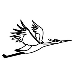Japanese traditional bird crane feathers flying vector