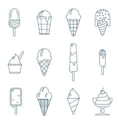 Line art icecream icons vector