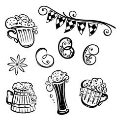 Oktoberfest beer pretzel vector image vector image
