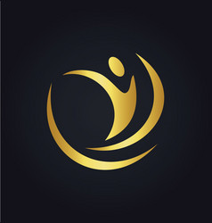 People abstract sport happy gold logo vector