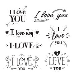 phrase i love you hand drawn lettering set vector image