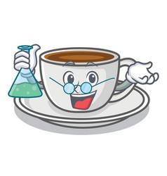 Professor coffee character cartoon style vector