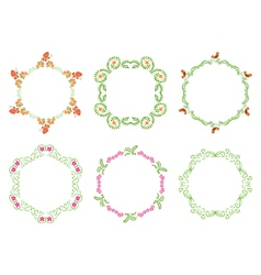round floral frames - set vector image