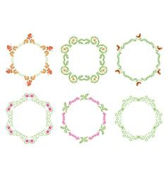 round floral frames - set vector image vector image