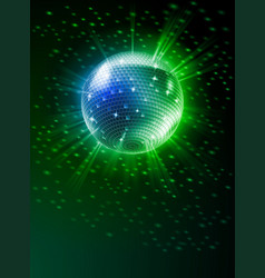 Sparkling disco ball on green light burst vector