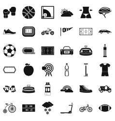 sport cycling icons set simple style vector image