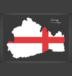 Surrey map england uk with english national flag vector