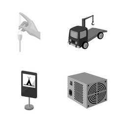 Tube forklift and other monochrome icon in vector