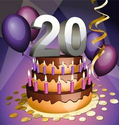 twentieth birthday vector image
