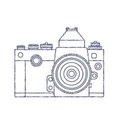 Vintage old photo camera logo hand drawn vector