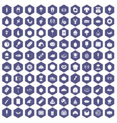 100 favorite food icons hexagon purple vector image vector image