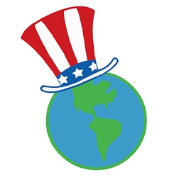 American hat on a globe vector