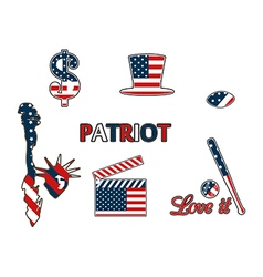 Us symbols in the patriotic colors vector