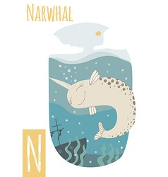 Vertical of narwhal with colorful underwater vector