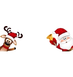 Funny santa and reindeer vector