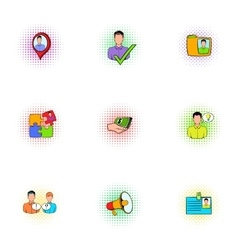 Management icons set pop-art style vector