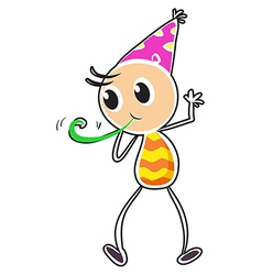 A kid wearing a party hat vector