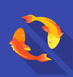 Koi fishes icon in flat style isolated on white vector